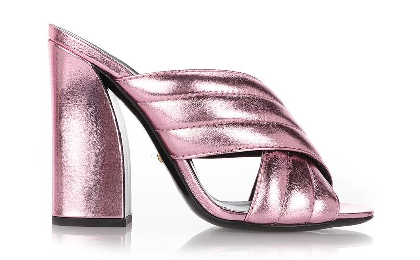 GUCCI 'SYLVIA' MULES IN LAMINATED PINK LEATHER