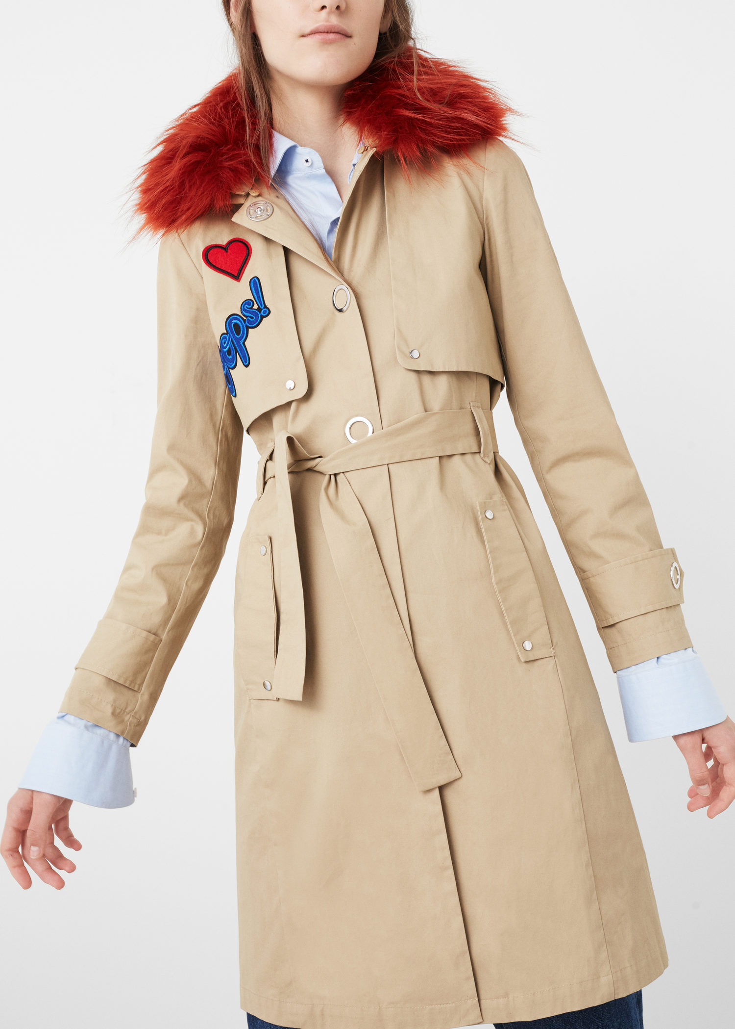 FAUX-FUR COLLAR TRENCH MANGO