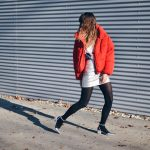red puf jacket